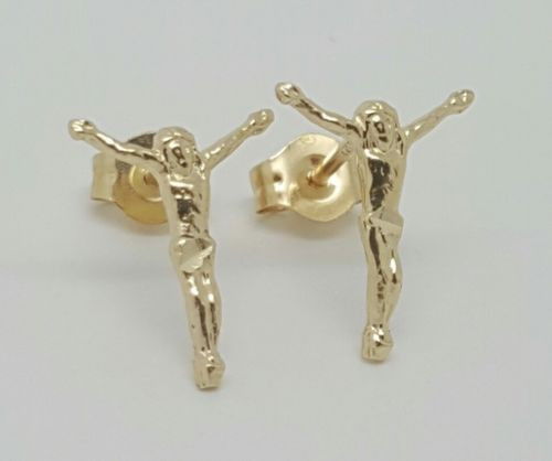 14k Solid Yellow Gold Jesus Christ Cross Stud Earrings Women/Children Push Back