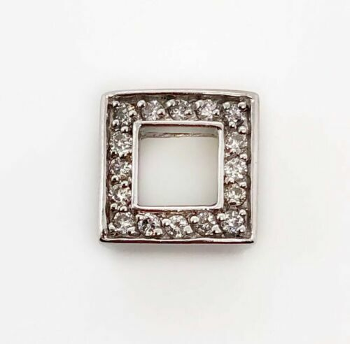 14K Solid White Gold 0.15 Ct Natural Round Diamond Square Charm Pendant SI1, G