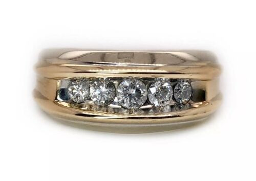 14K Solid White & Yellow Gold 0.50 Ct Natural Round Diamond Men Ring 6.2 Grams