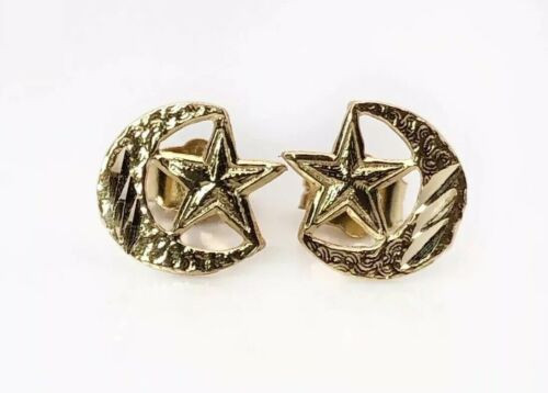 14K Solid Yellow Gold Moon and Star Stud Earrings Men/Women Earrings Push Back