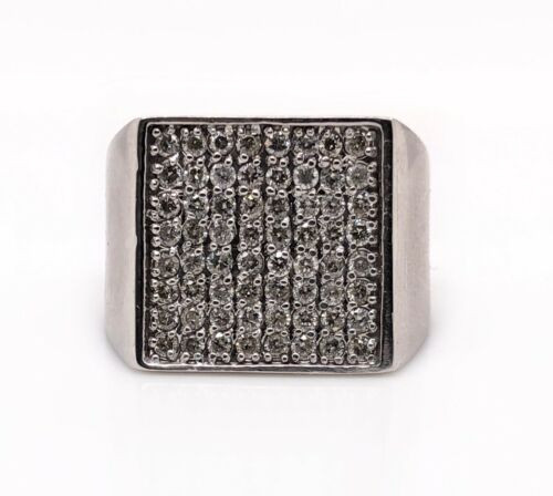 14K Solid White Gold 1.10 Ct Natural Diamond Mens Wide Signet Ring 15.8Gr