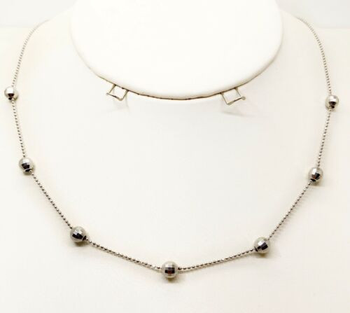 14K Solid White Gold Ball Chain Necklace Women's 17.25""