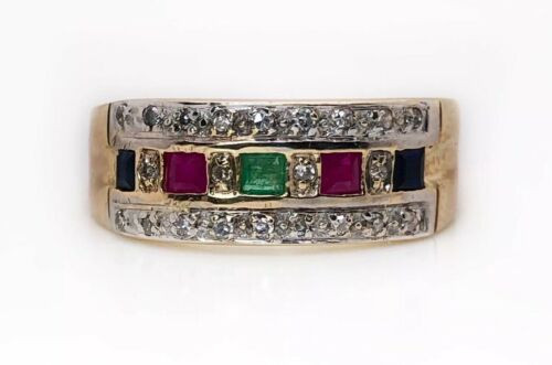 Vintage 13k Yellow Gold Green Emerald, Ruby, Sapphire, Diamond Cocktail Ring