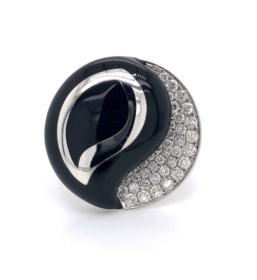 18k White Gold 0.57 Ct Diamond And Onyx Yin & Yang Wide Ring