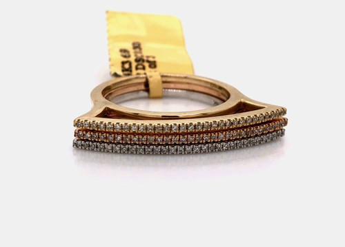 14K Multi Tone Tri Color Gold Diamond Stackable 3 Rings Wide Flat Top