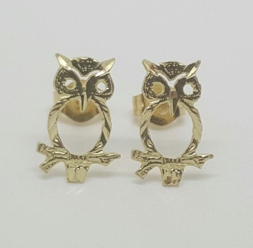 14k Solid Yellow Gold Owl Lucky Bird Stud Earrings Women Children Push Back 11MM