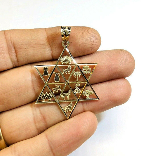 Star of David Twelve Tribes of Israel Jewish 14k Solid Yellow Gold Pendant 37 MM