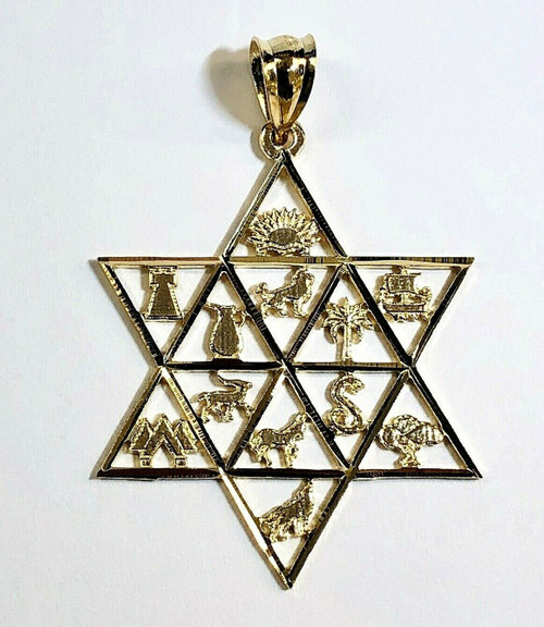 Star of David Twelve Tribes of Israel Jewish 14k Solid Yellow Gold Pendant 37 MM