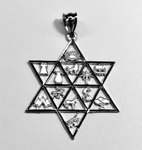 Star of David Twelve Tribes of Israel Jewish 14k Solid White Gold Pendant 37 MM