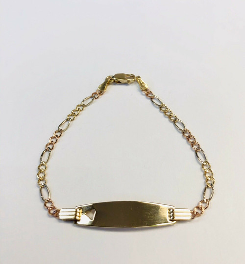 14k Solid Tri Color Gold Figaro Link Heart Baby ID Bracelet 6 Inches