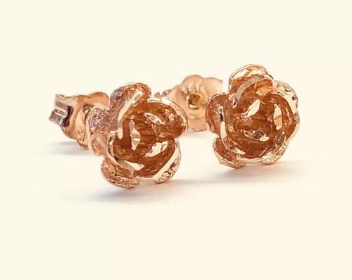14k Solid Rose Gold Rose Flower Stud Earrings Women/Girls Push Back 7 MM
