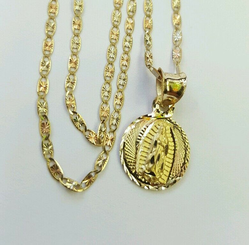 14k gold Virgin Mary Guadalupe Baptism Baby Charm Pendant & Valentino Chain 18""