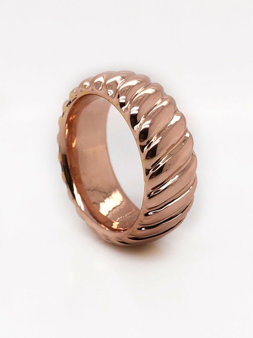 14k Rose Gold Band Ring Size 7.75, 8.7 MM Spiral Textured Unisex