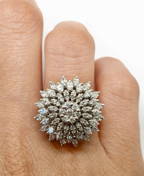 2.68 TCW Natural Diamond Wide Cluster Ring Round & Marquise H/SI1 Size 7