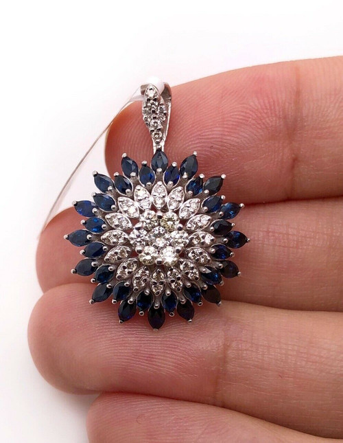 18k White Gold 3.2Ct Natural Marquise Sapphire & Diamond Wide Cluster Pendant