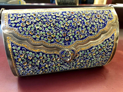 Antique Solid Sterling Silver Handmade Enamel Floral Purse Museum Quality