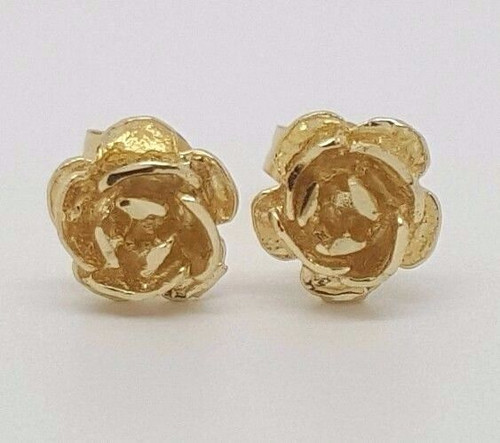 5e7b4549d 14k Solid Yellow Gold Rose Flower Stud Earrings Women/Children Push Back 7  MM