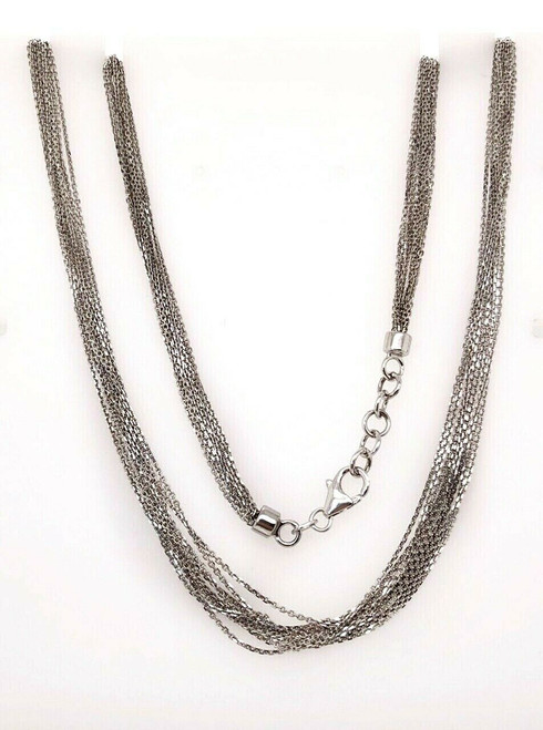 "14k Solid White Gold 18.75"" Multi Strands Chain Necklace 13.4 Grams"