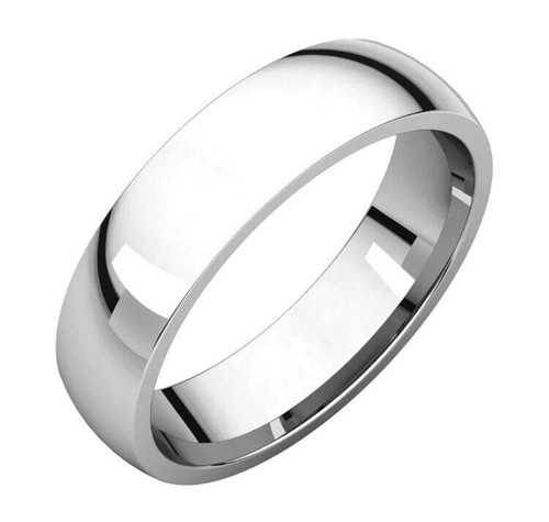 Solid 14K White Gold 5 MM Size 10 Comfort Fit Wedding Ring Band Mens Womens