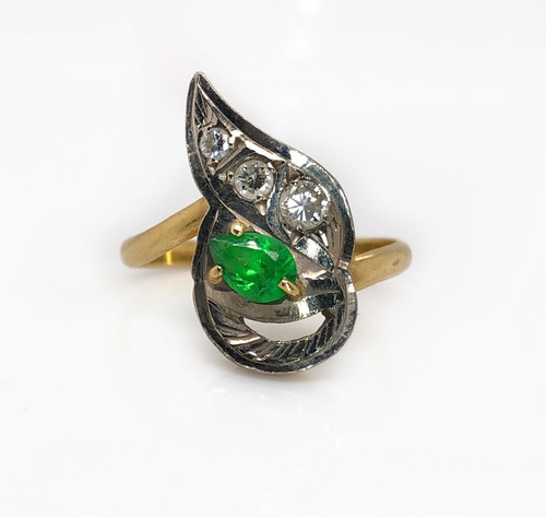 Vintage 18k Solid Yellow Gold 0.42 Ct Natural Diamond & Emerald Cocktail Ring