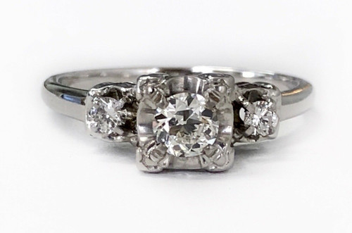 Vintage 14k white gold 0.44Ct genuine round diamond engagement ring old cut F,VS