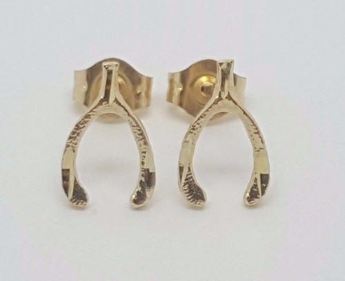 14k Solid Yellow Gold Wishbone Good Luck Stud Earrings Push Back 9MM