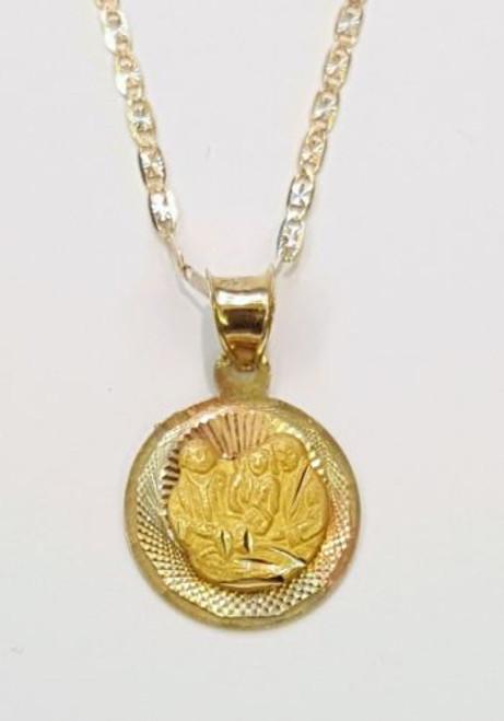 14k tri color gold baby niño/niña baptism bautismo pendant & Valentino chain