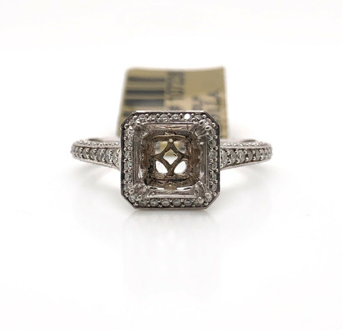18k White Gold 0.51Ct Diamond Semi Mount Halo Ring Center Square 1-1.2 Ct