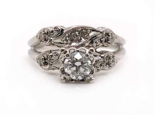 Vintage Art Deco 14K White Gold 0.65Ct Old Natural Diamond Engagement Ring Band