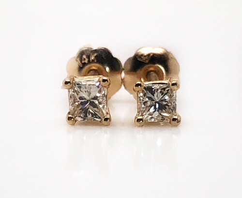 0.25 TCW Natural Princess Cut Diamond 14k Yellow Gold Stud Earrings