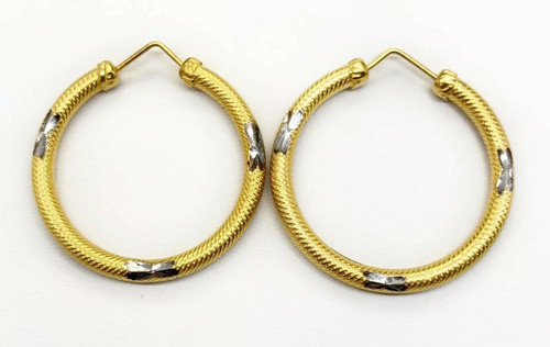 18K Yellow Gold Diamond Cut Hoop Womens Earrings, 30 MM, 3.8 Grams