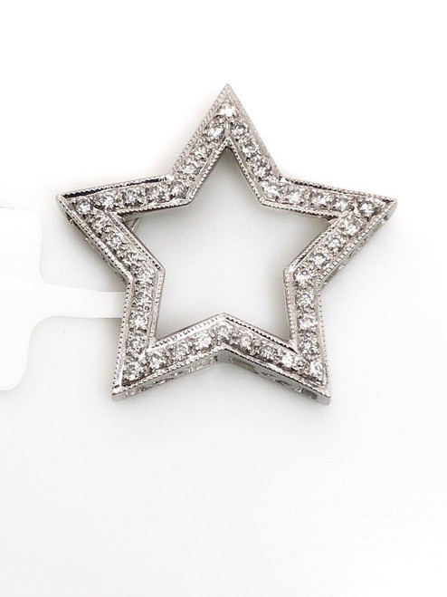 18k White Gold Natural Round Diamond Star Pendant