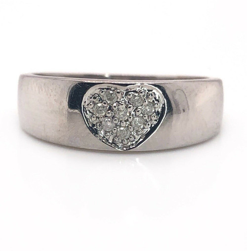 14K White Gold 0.12 TCW Natural Round Diamond Heart Ring