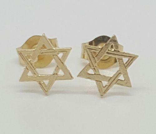 14k Solid Yellow Gold Star of David Stud Earrings Women/Children Push Back 7MM