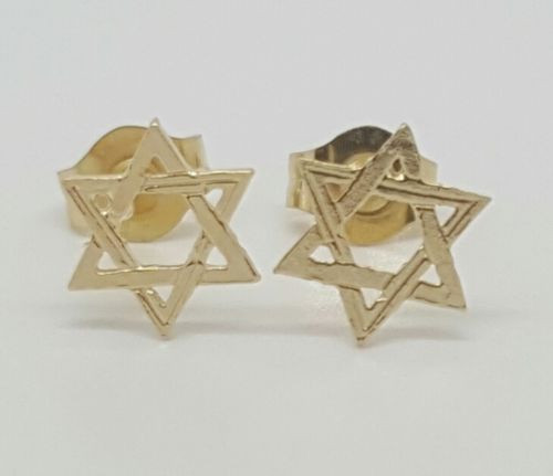 14k Solid Yellow Gold Star of David Stud Earrings Women/Children Push Back 7MM