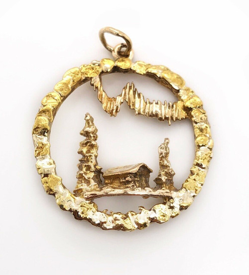 Vintage 10k Solid Yellow Gold Village Cottage Nugget Round Charm Pendant 1""