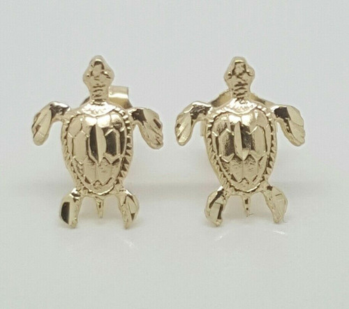 14k Yellow Gold Turtle Tortoise Tortuga Stud Earrings Women/Children Push Back