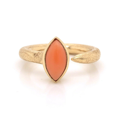 14K Yellow Gold Marquise Salmon Coral Round Shank Solitaire Designer Ring