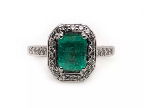 18K Solid White Gold 1.58 Ct Natural Diamond & Emerald Womens Halo Ring VS2, G
