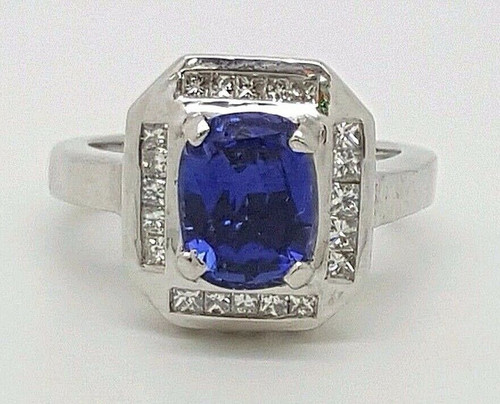 3.52Ct G/VS2 Genuine Princess Cut Diamond & Blue Sapphire 14k white Gold Ring