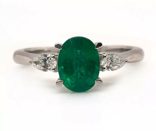 14k White Gold 1.34 Ct Natural Fine Green Emerald & Pear Diamonds 3 Stone Ring
