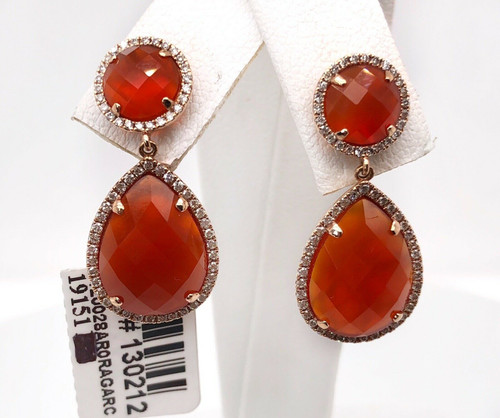 14k Rose Gold Diamond & Carnelian Agate Tear Drop Dangle Earrings