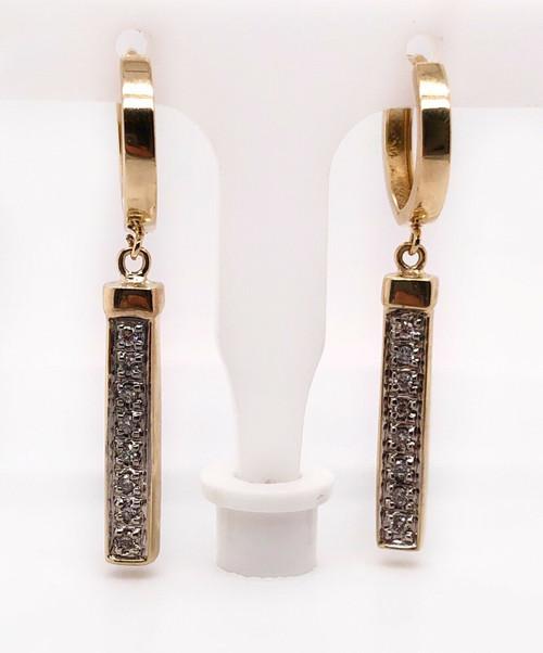 14k Yellow Gold 0.35 TCW Natural Diamond Drop Dangle Bar Earrings