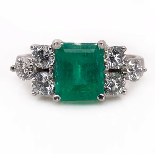 18k Solid White Gold Natural Diamond & Emerald Womens Ring 3.00 Ct VS2, G