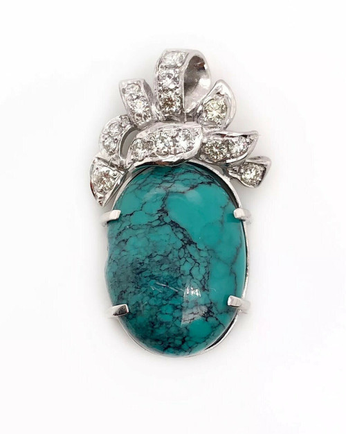 Vintage 18K White Gold 9 TCW Natural Diamond & Turquoise Pendant