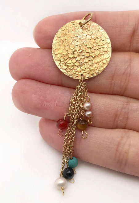 Vintage Hammered 18K Yellow Gold Multi Color Stones Dangling Pendant