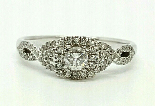 14k white gold 0.69 Ct natural round diamond wedding/engagement Halo ring