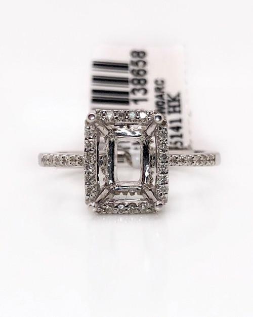 14k White Gold 0.20Ct Diamond Semi Mount Halo Ring Center Emerald 8*6 mm