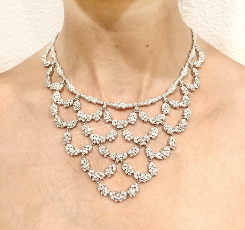 18K White Gold 11 Ct Diamond Lace Large Bib Necklace