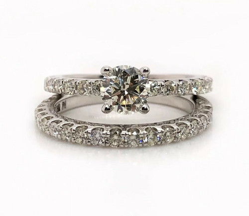 14k White Gold 1.50 Ct Natural Diamond Solitaire Engagement Ring & Wedding Band